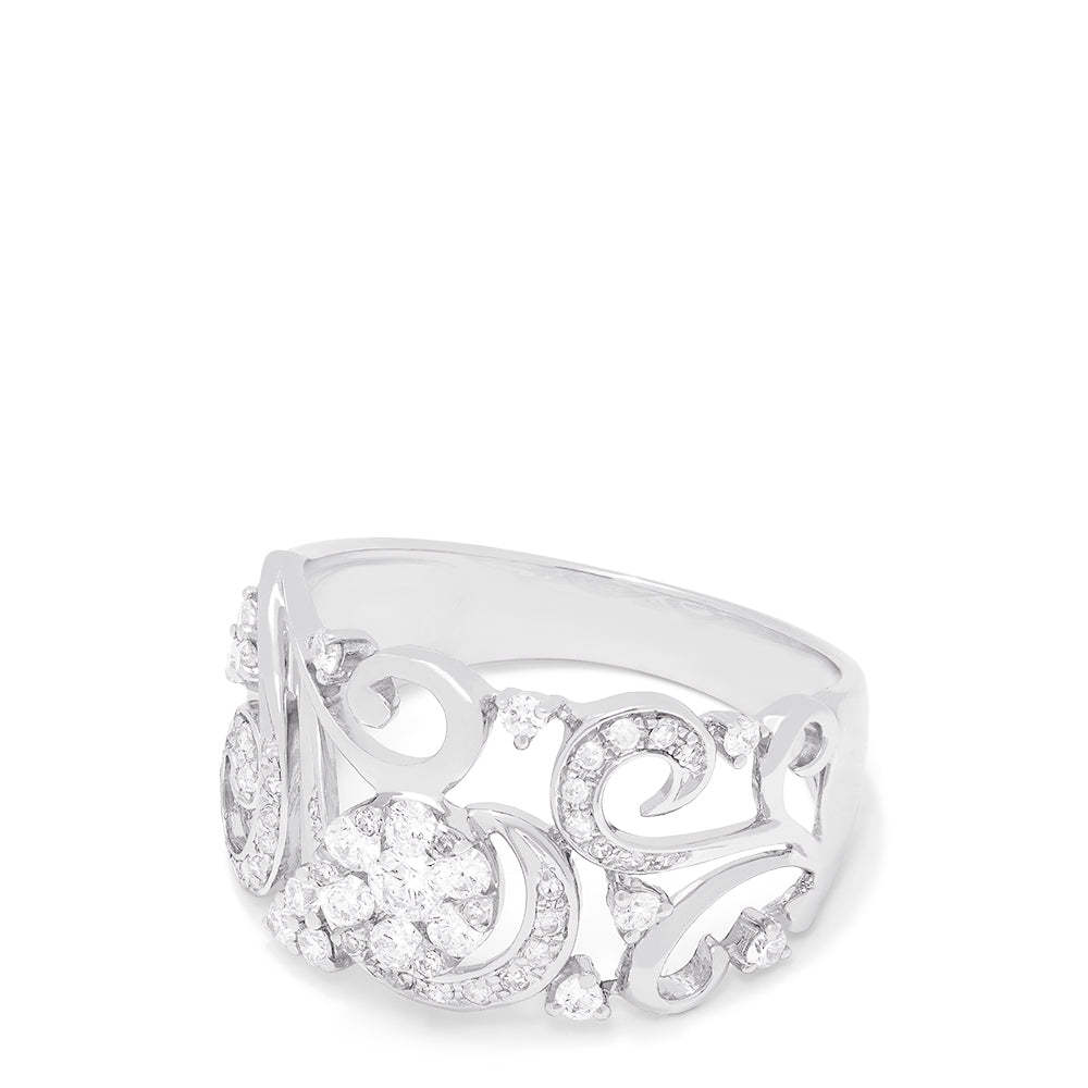 Effy Bouquet 14K White Gold Diamond Filigree Ring, 0.53 TCW