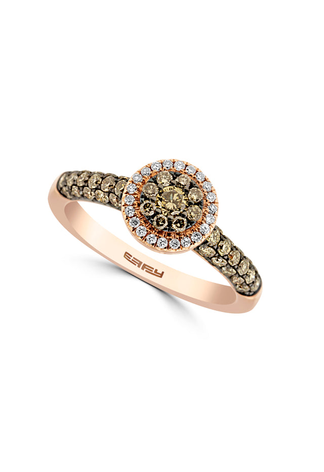 Effy 14K Rose Gold Cognac and White Diamond Ring, 0.74 TCW