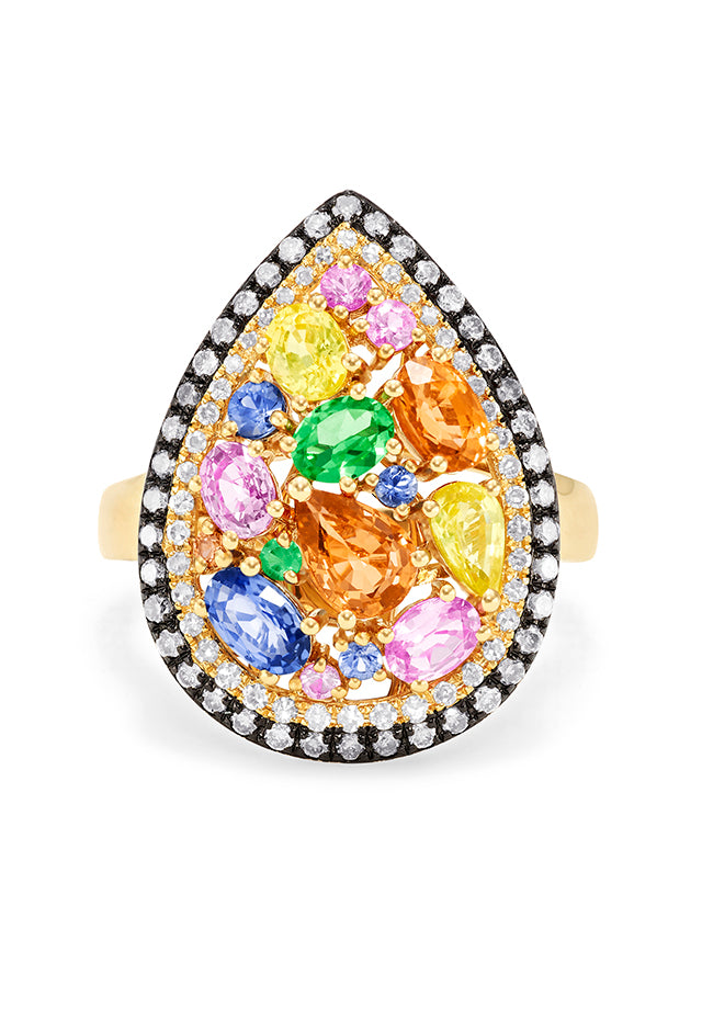 Effy Watercolors 14K Yellow Gold Multi Sapphire and Diamond Ring, 2.72 TCW