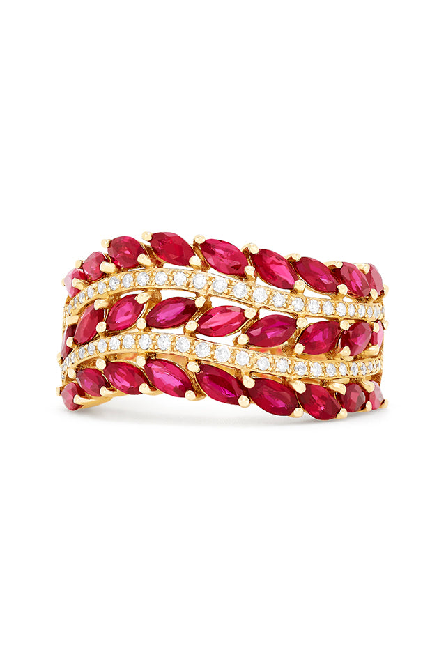 Effy Gemma 14K Yellow Gold Ruby and Diamond Ring, 2.77 TCW