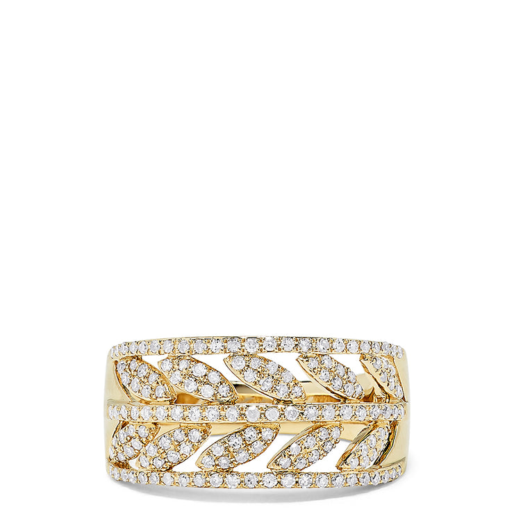 Effy 14K Yellow Gold Diamond Laurel Ring, 0.53 TCW