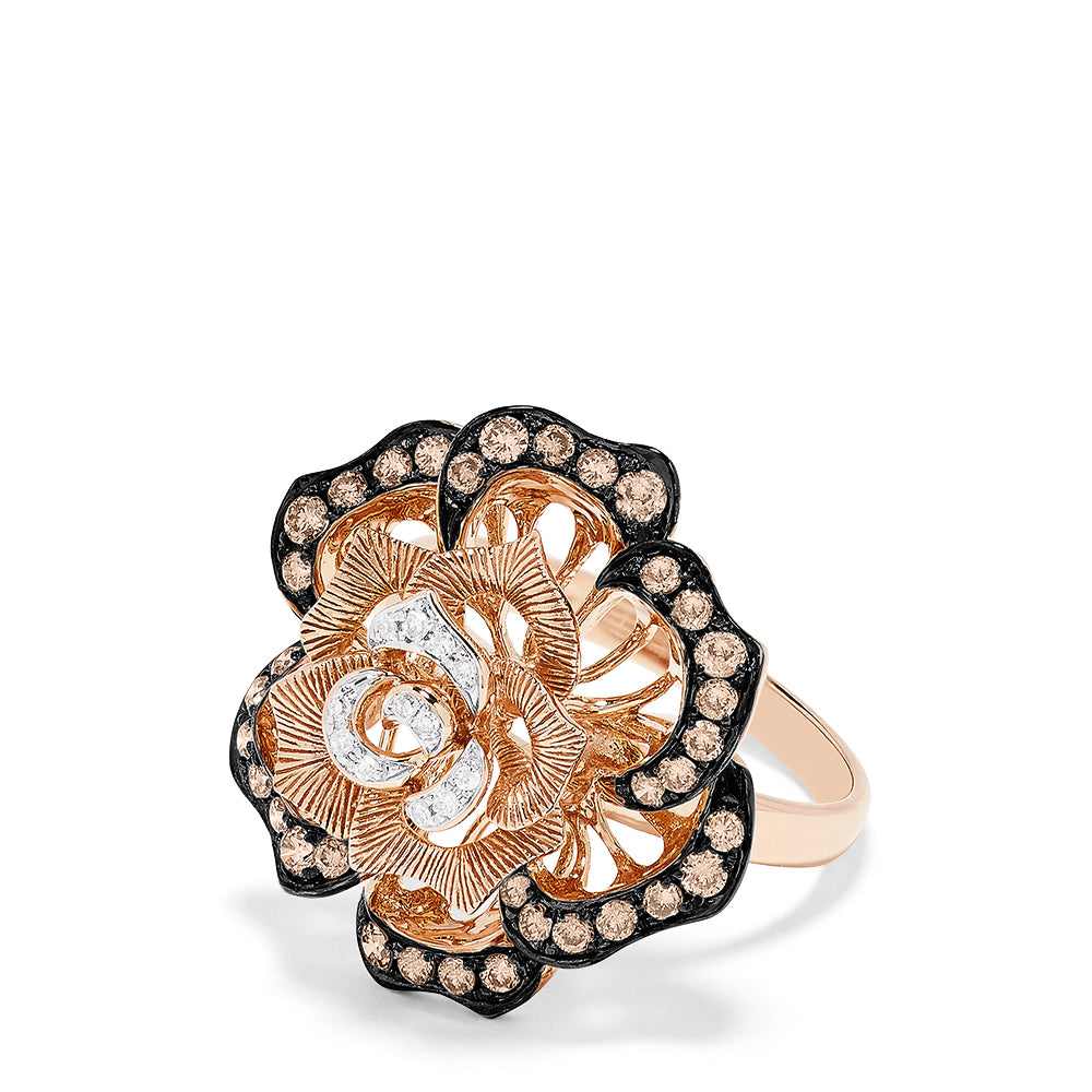 Effy 14K Rose Gold Espresso and White Diamond Flower Ring, 0.62 TCW