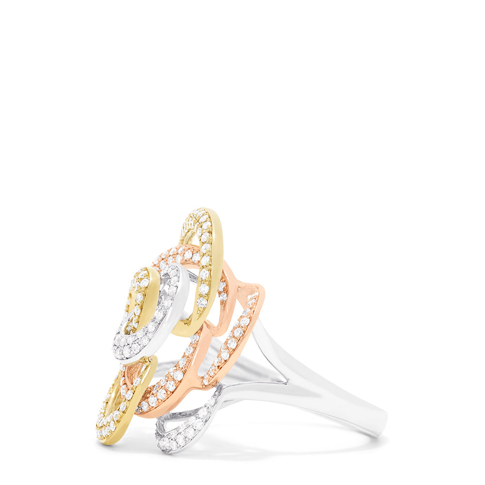 Effy Trio 14K Tri-Color Gold Diamond Flower Ring, 0.65 TCW