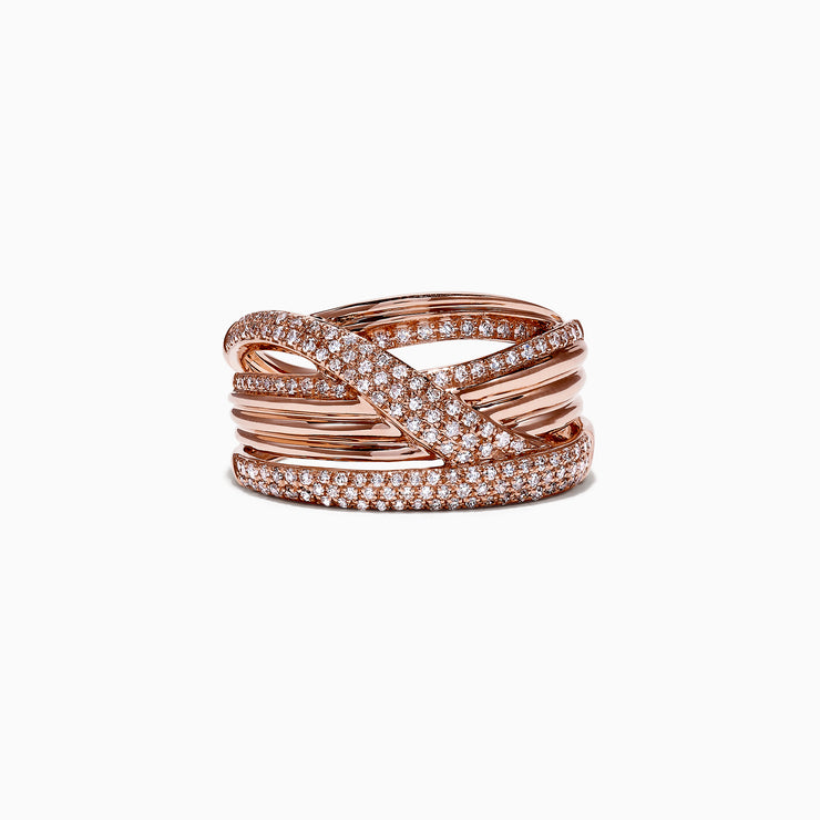 Effy Pave Rose 14K Rose Gold Diamond Crossover Ring, 0.59 TCW