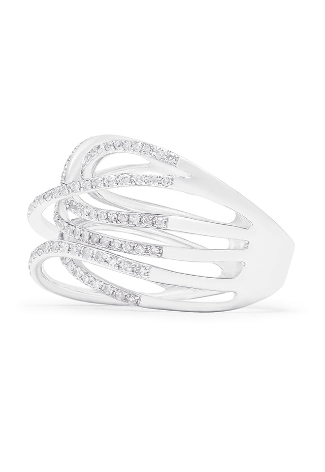 Effy Pave Classica 14K White Gold Diamond Cross Over Ring, 0.58 TCW