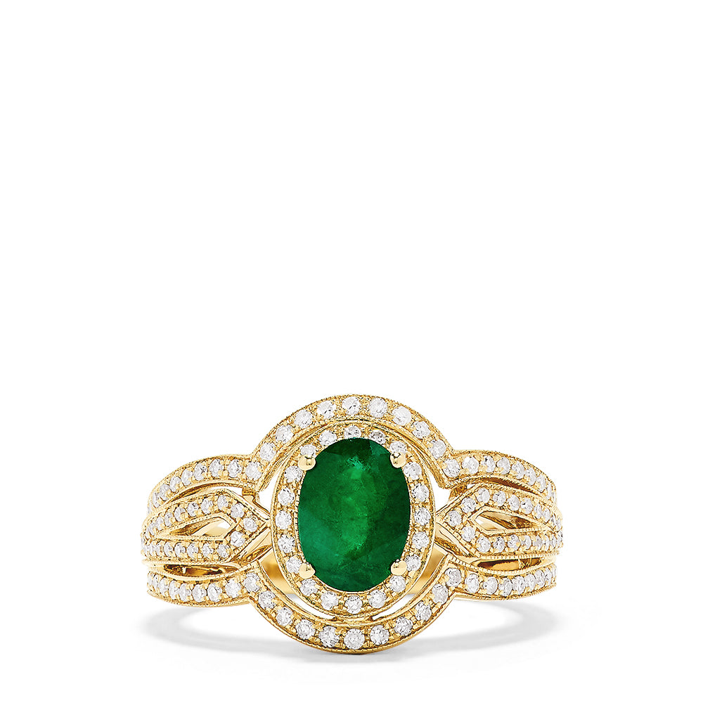 Effy 14K Yellow Gold Emerald and Diamond Ring, 1.64 TCW