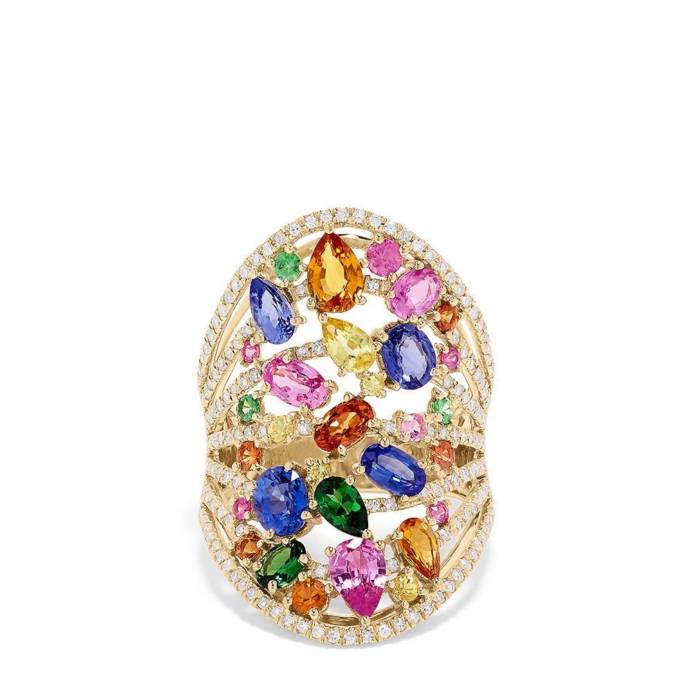 Effy Watercolors 14K Yellow Gold Multi Sapphire and Diamond Ring, 6.09 TCW