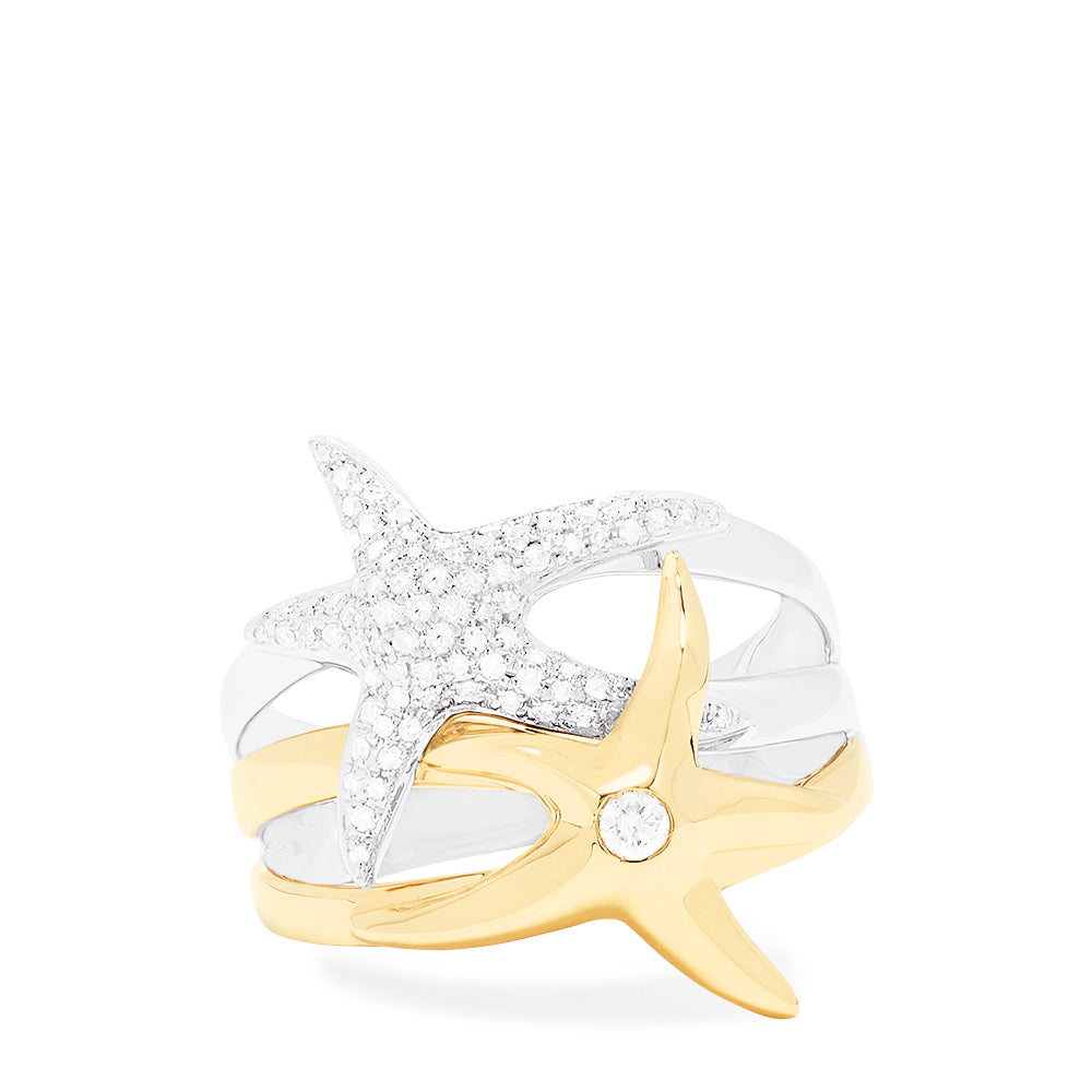 Effy Seaside 14K White and Yellow Gold Diamond Starfish Ring, 0.39 TCW