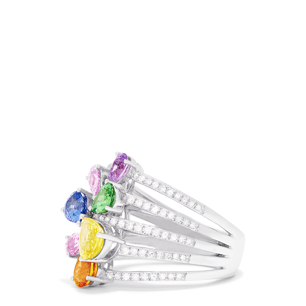 Effy Watercolors 14K White Gold Multi Sapphire and Diamond Ring, 3.4 TCW