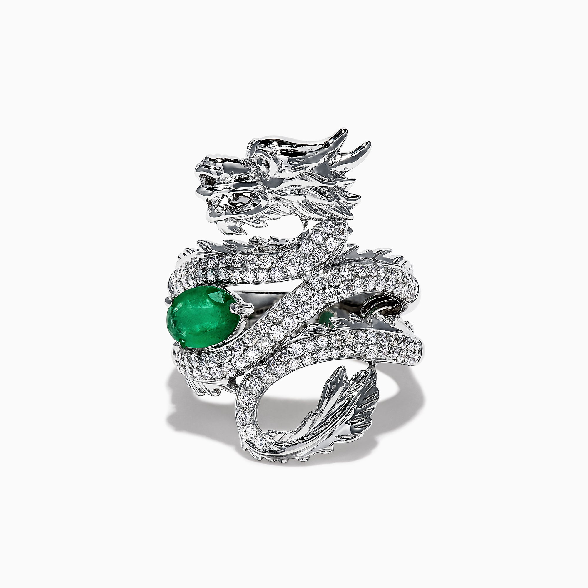 Effy Safari 14K Gold Diamond & Emerald Dragon Ring, 1.50 TCW