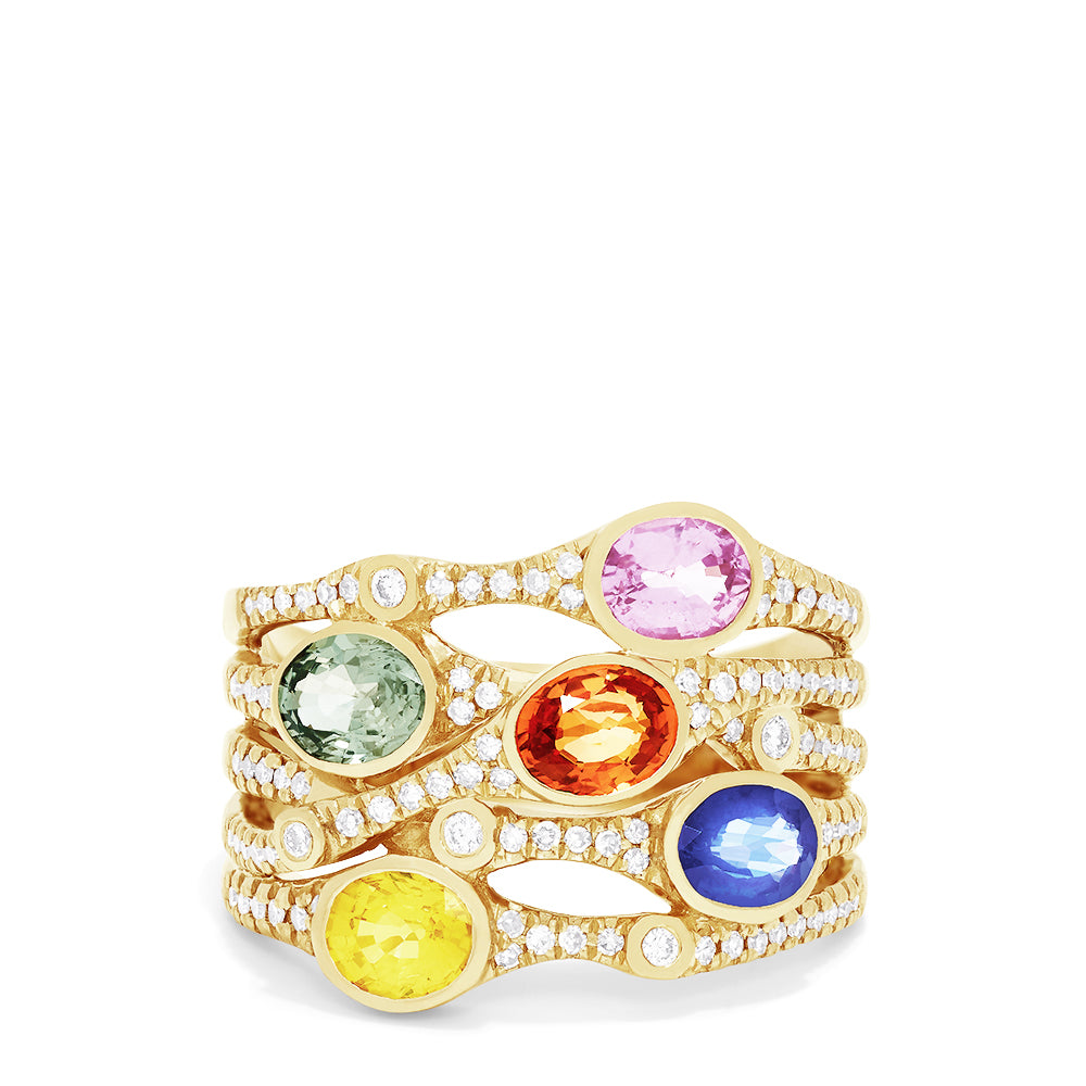 Effy Watercolors 14K Yellow Gold Multi Sapphire and Diamond Ring, 2.47 TCW