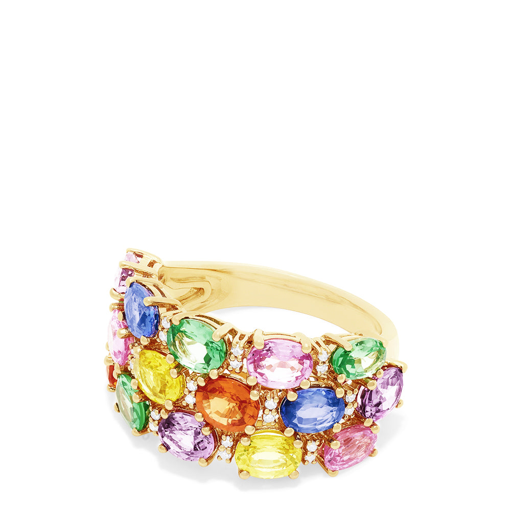 Effy Watercolors 14K Yellow Gold Multi Sapphire and Diamond Ring, 6.21 TCW
