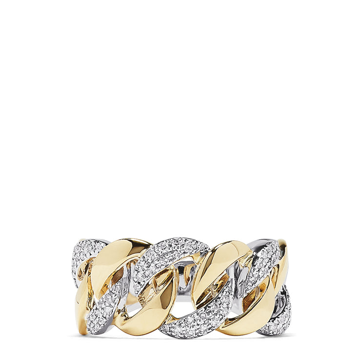 Effy Duo 14K Two Tone Gold Diamond Chain Link Ring, 0.32 TCW