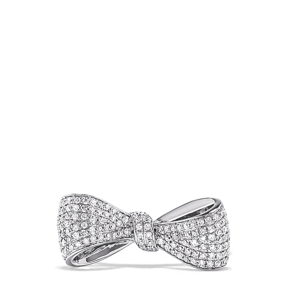 Effy Novelty 14K White Gold Diamond Bow Ring, 0.35 TCW