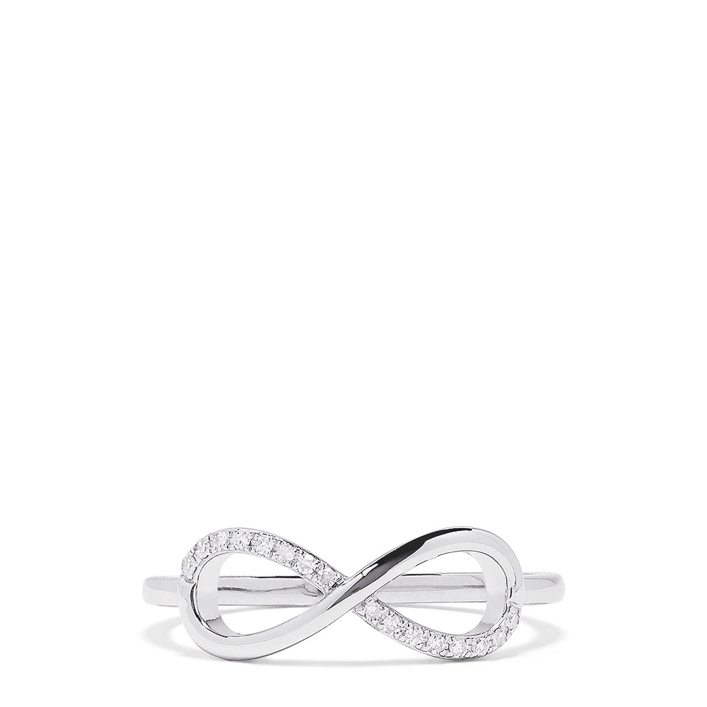 Effy Novelty 14K White Gold Diamond Infinity Ring, 0.06 TCW