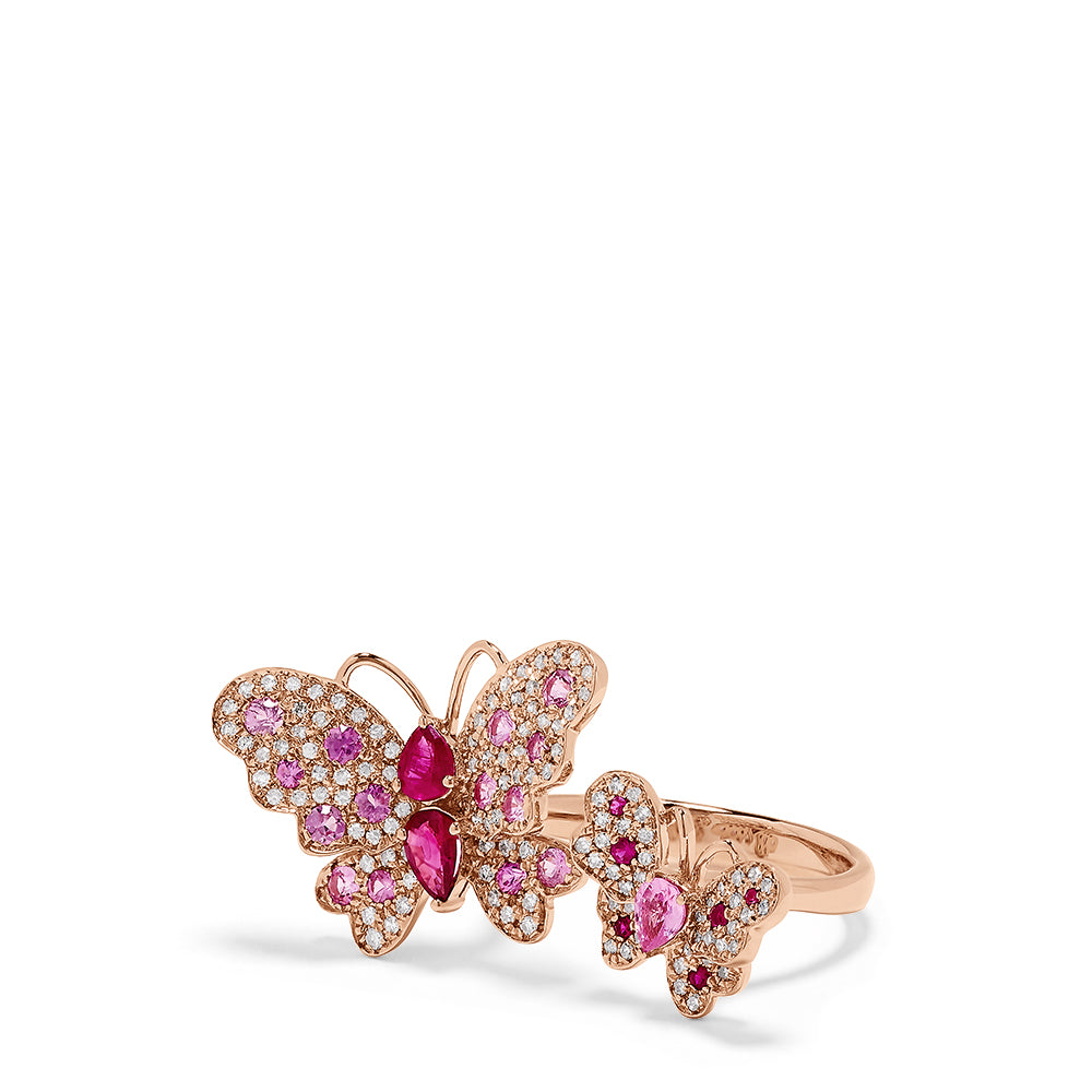 Effy Nature 14K Rose Gold Ruby, Sapphire & Diamond Butterfly Ring, 1.81 TCW