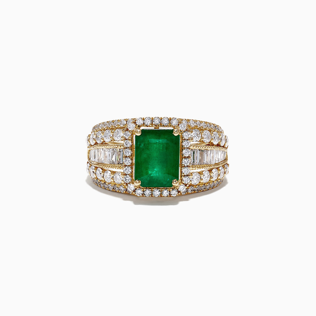 Effy Brasilica 14K Yellow Gold Emerald and Diamond Ring, 3.78 TCW