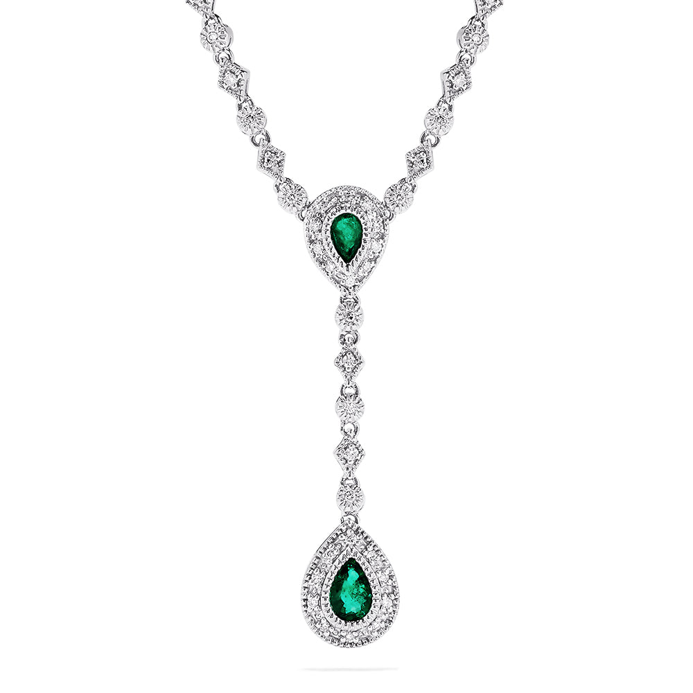 Effy 14K White Gold Emerald and Diamond Necklace, 2.30 TCW