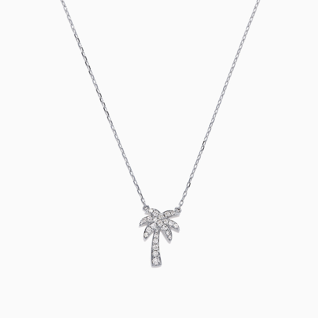 Effy Novelty 14K White Gold Diamond Palm Tree Necklace, 0.23 TCW
