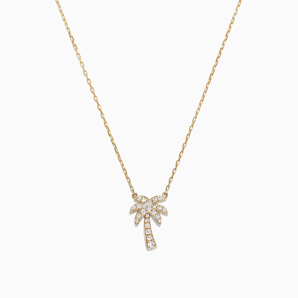 Effy Novelty 14K Yellow Gold Diamond Palm Tree Necklace, 0.23 TCW