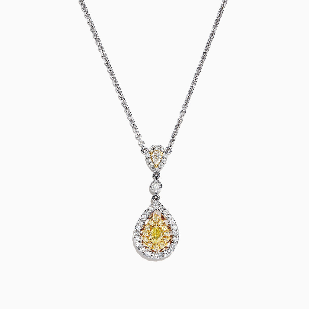 Effy Canare 18K Two-Tone Gold Yellow and White Diamond Pendant, 0.74 TCW