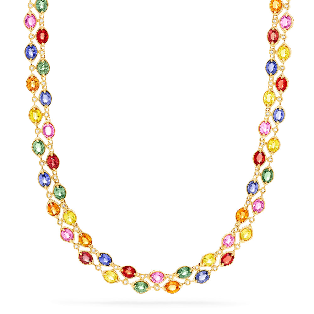 Effy Watercolors 14K Yellow Gold Multi Sapphire and Diamond Necklace
