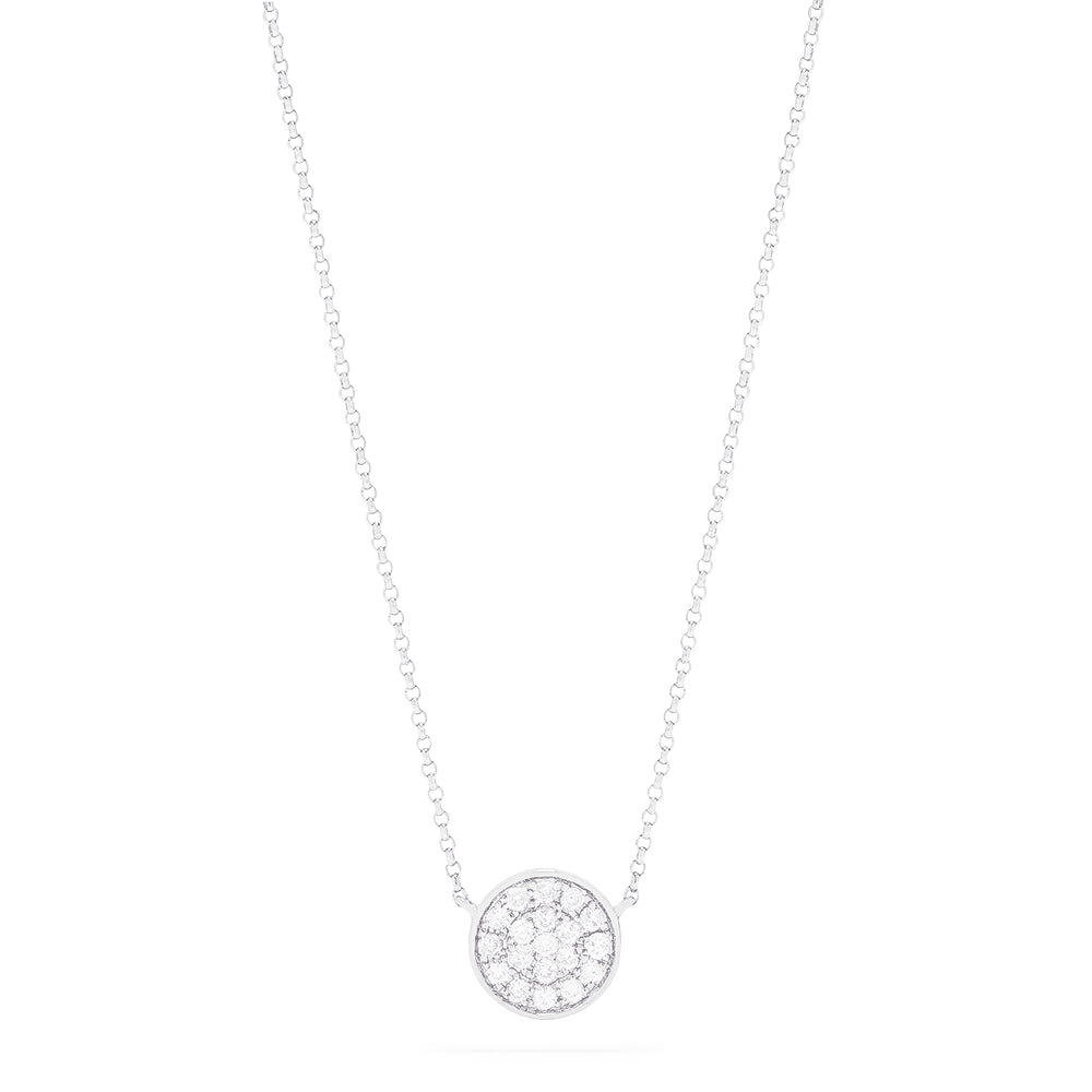 Effy 14K White Gold Diamond Pave Disk Necklace, 0.28 TCW