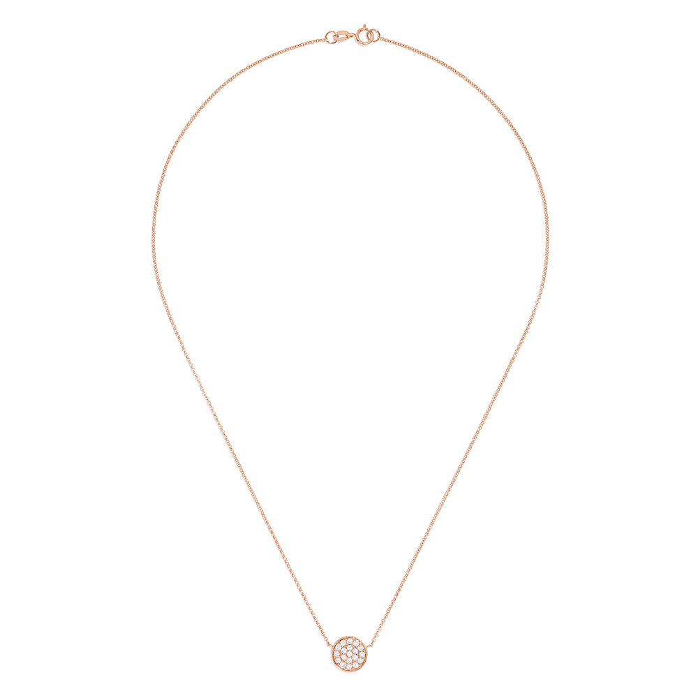 Effy Pave Rose 14K Rose Gold Diamond Disc Necklace, 0.28 TCW