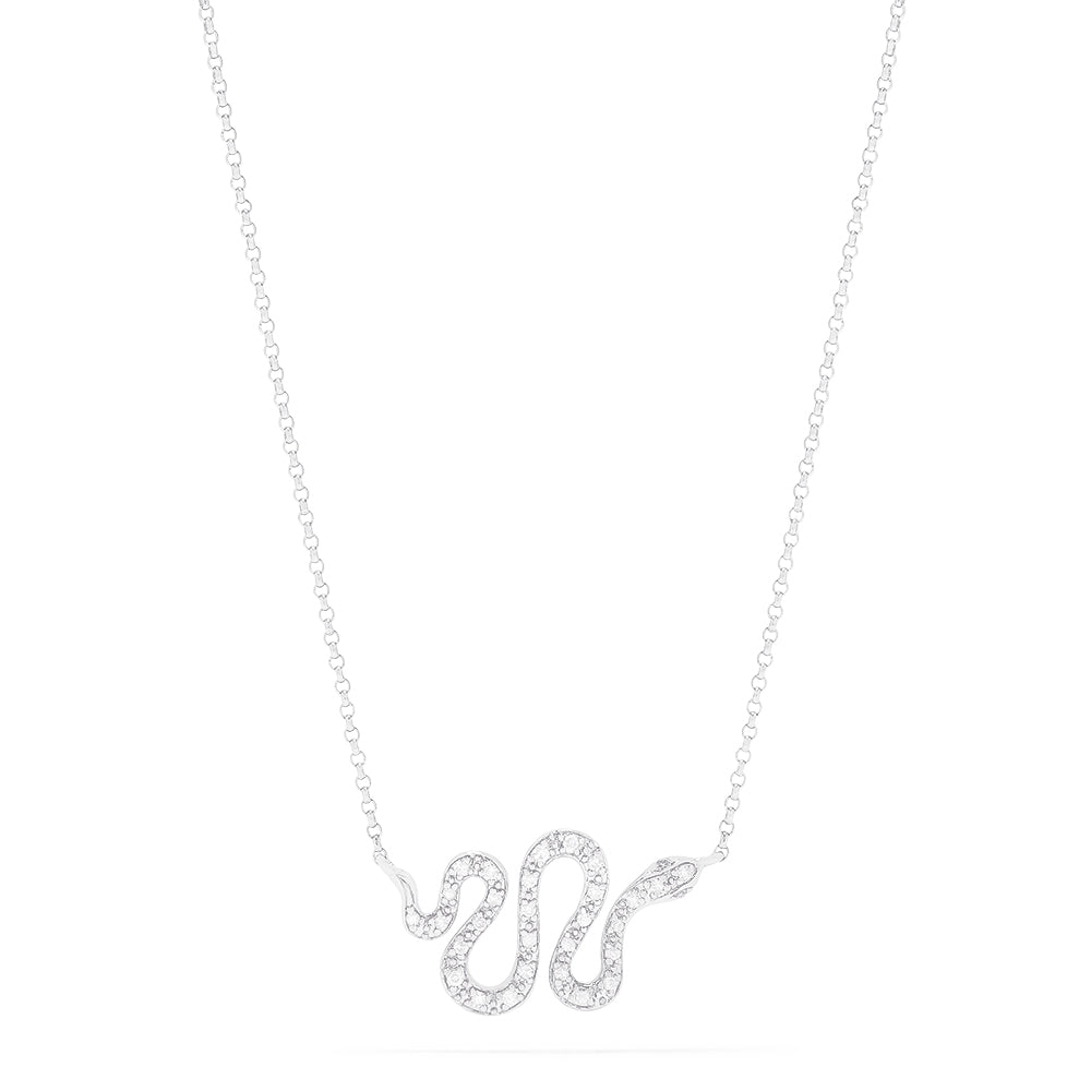 Effy Novelty 14K White Gold Diamond Snake Necklace, 0.12 TCW