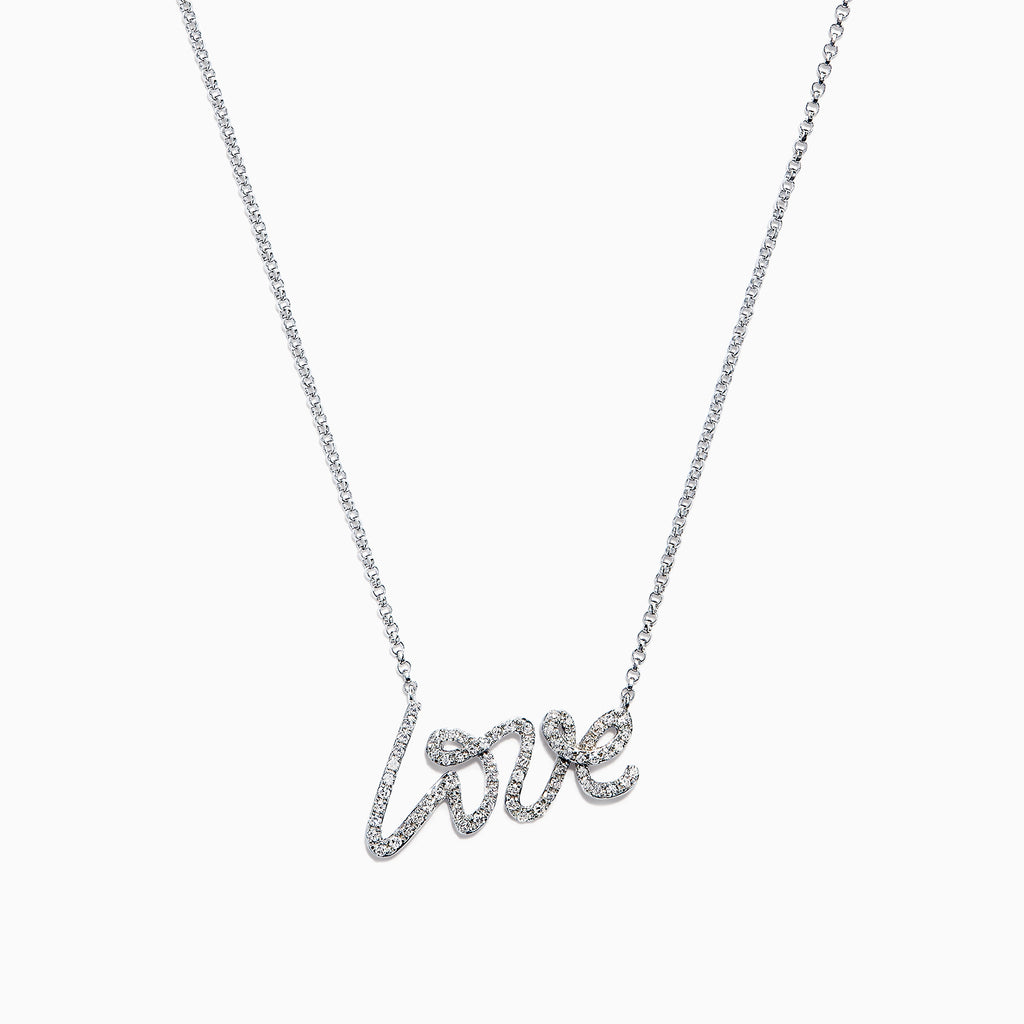 Effy Novelty 14K White Gold Diamond Love Necklace, 0.26 TCW