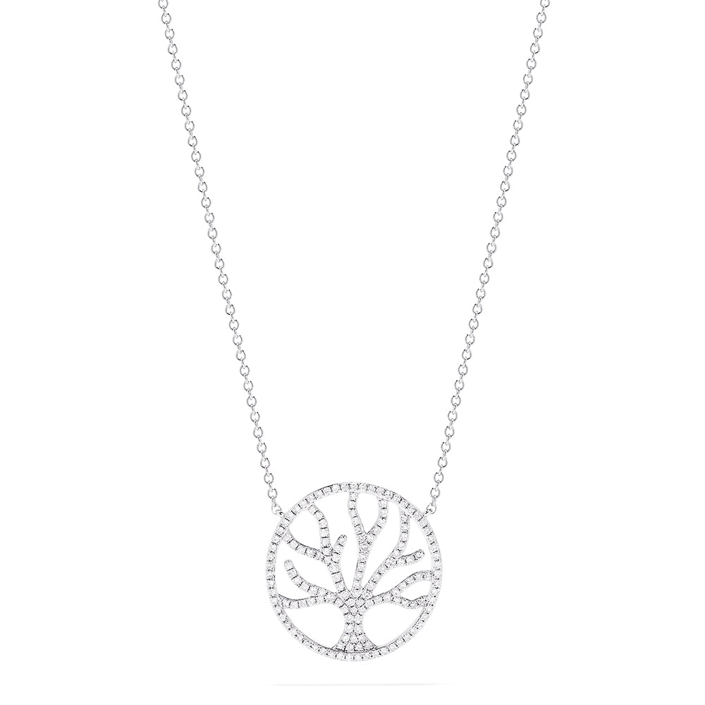 Effy Novelty 14K White Gold Diamond Tree Necklace, 0.47 TCW