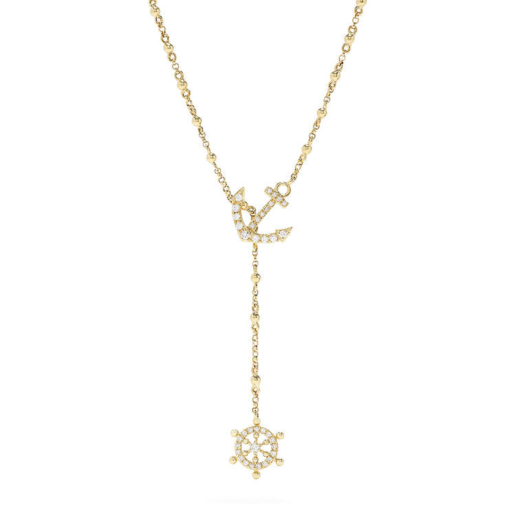 Effy Novelty 14K Yellow Gold Diamond Nautical Necklace, 0.18 TCW
