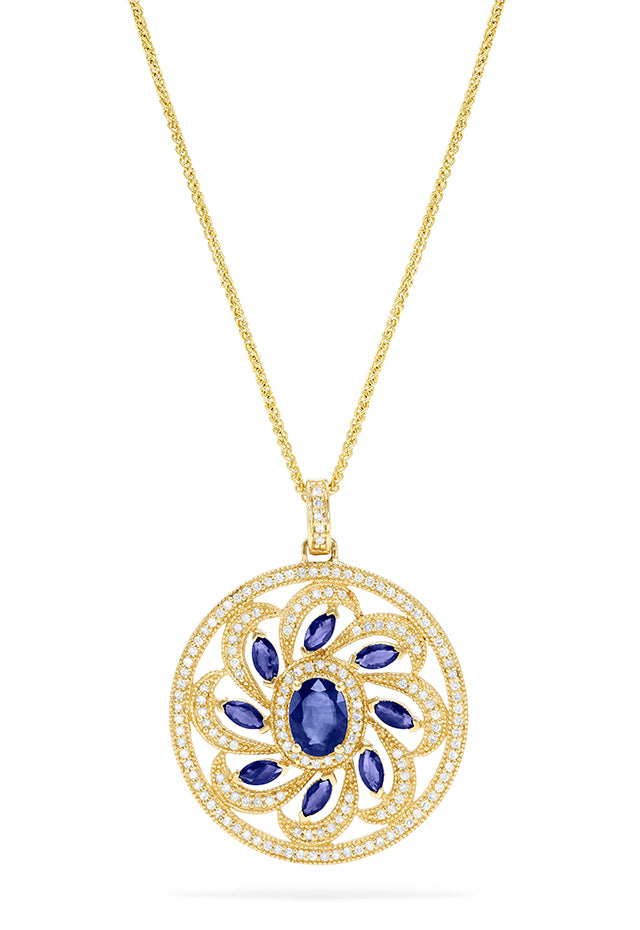 Effy 14K Yellow Gold Sapphire and Diamond Pendant, 3.81 TCW