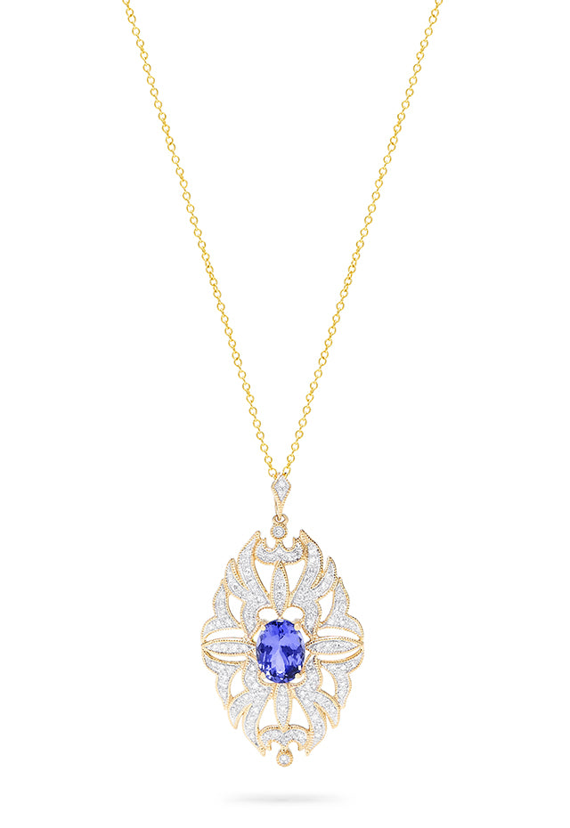 Effy Gemma 14K Yellow Gold Tanzanite and Diamond Pendant, 1.57 TCW