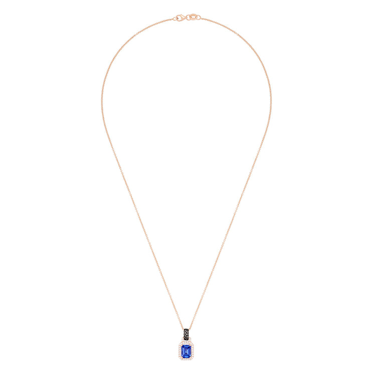 Effy 14K Rose Gold Emerald Cut Tanzanite and Diamond Pendant, 1.56 TCW