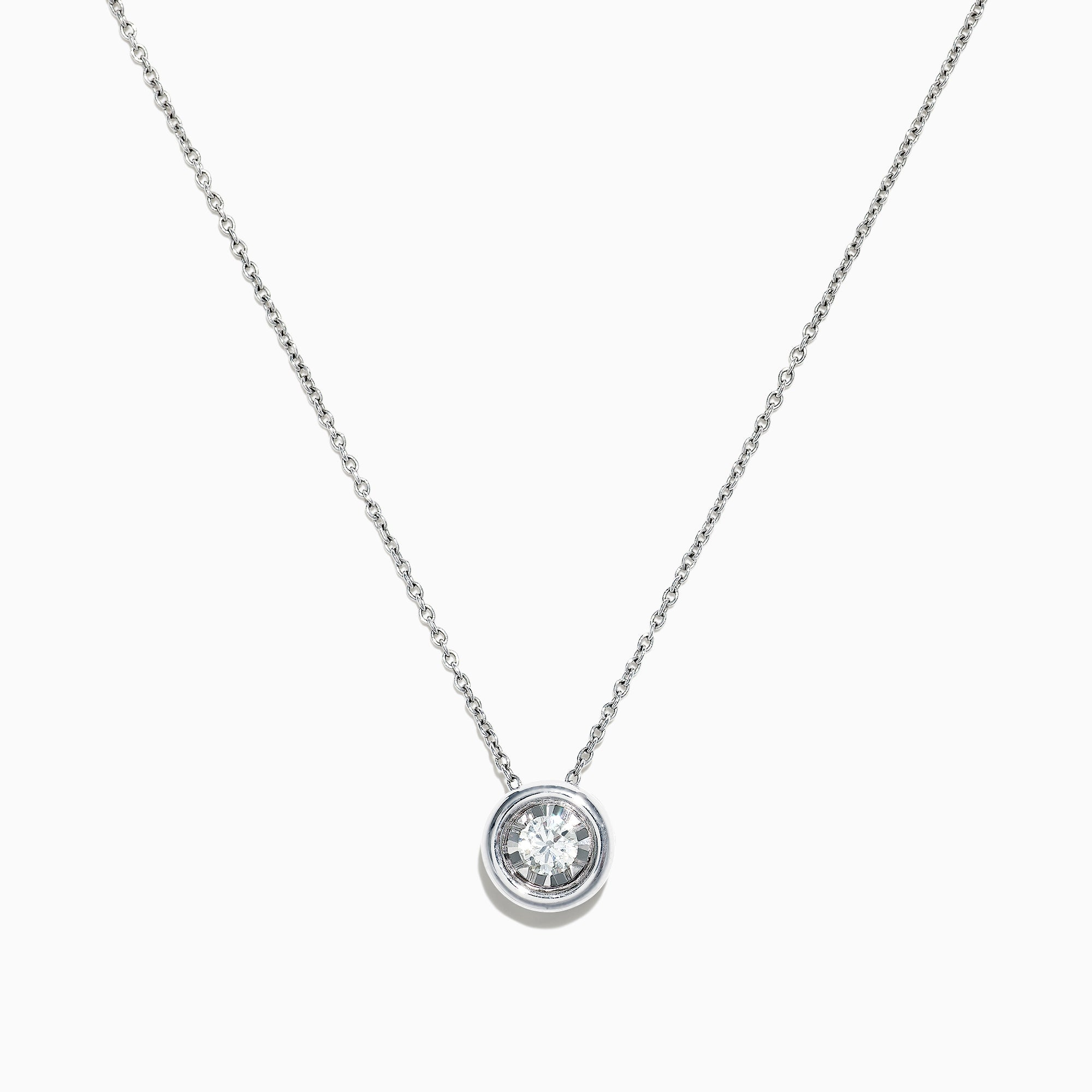 Effy 14K White Gold Diamond Bezel Set Pendant, 0.20 TCW