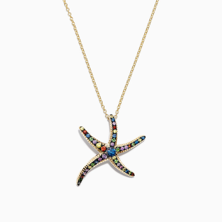 Effy Watercolors 14K Yellow Gold Multi Sapphire Starfish Pendant, 0.80 TCW