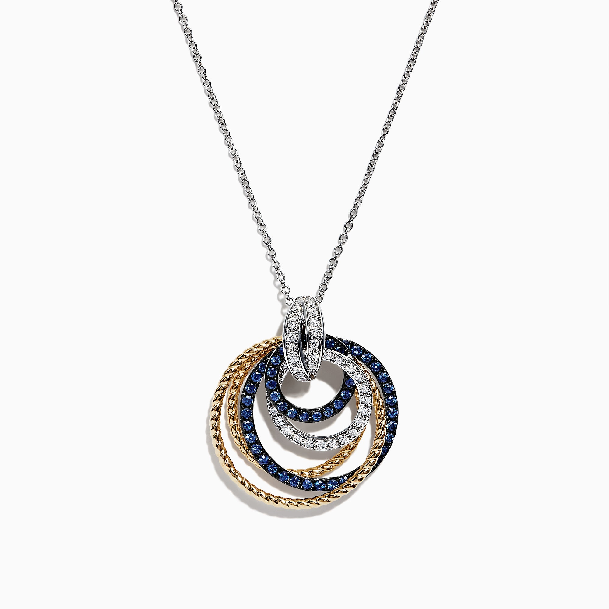 Effy Royale Bleu 14K 2-Tone Sapphire and Diamond Circles Pendant, 1.09 TCW