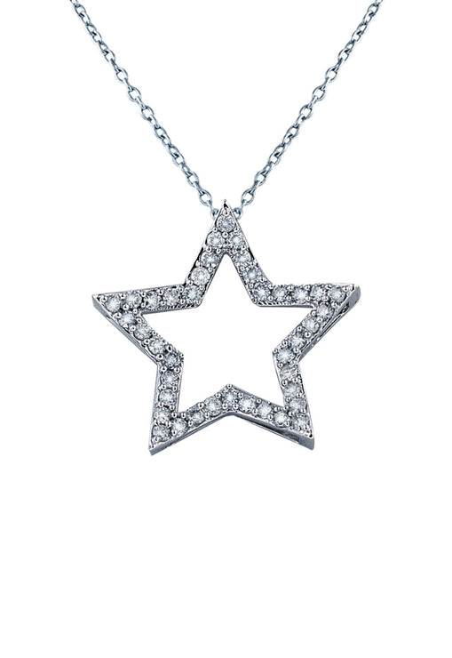 14K White Gold Diamond Star Pendant, .49 TCW