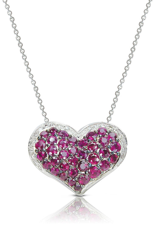 14K White Gold Ruby and Diamond Heart Pendant, 1.34 TCW