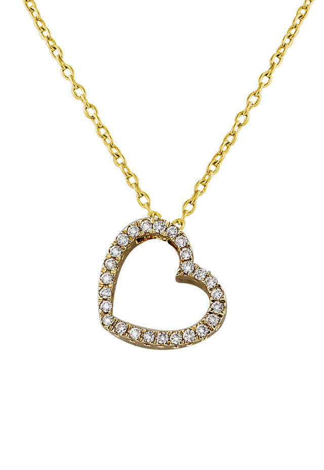 14K Yellow Gold Diamond Heart Pendant, .25 TCW