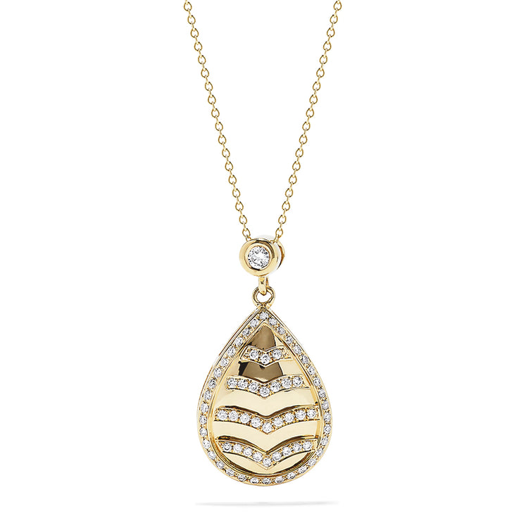 Effy 14K Yellow Gold Diamond Teardrop Pendant, 0.38 TCW