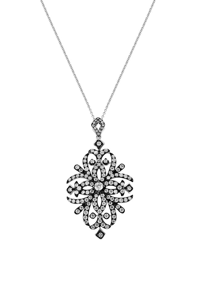 Effy 14K White Gold Black IP Diamond Filigree Pendant, 1.63 TCW
