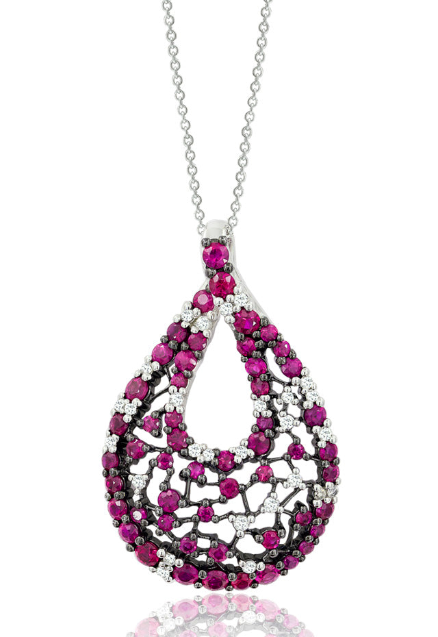 18K White Gold Ruby & Diamond Pendant, 1.93 TCW