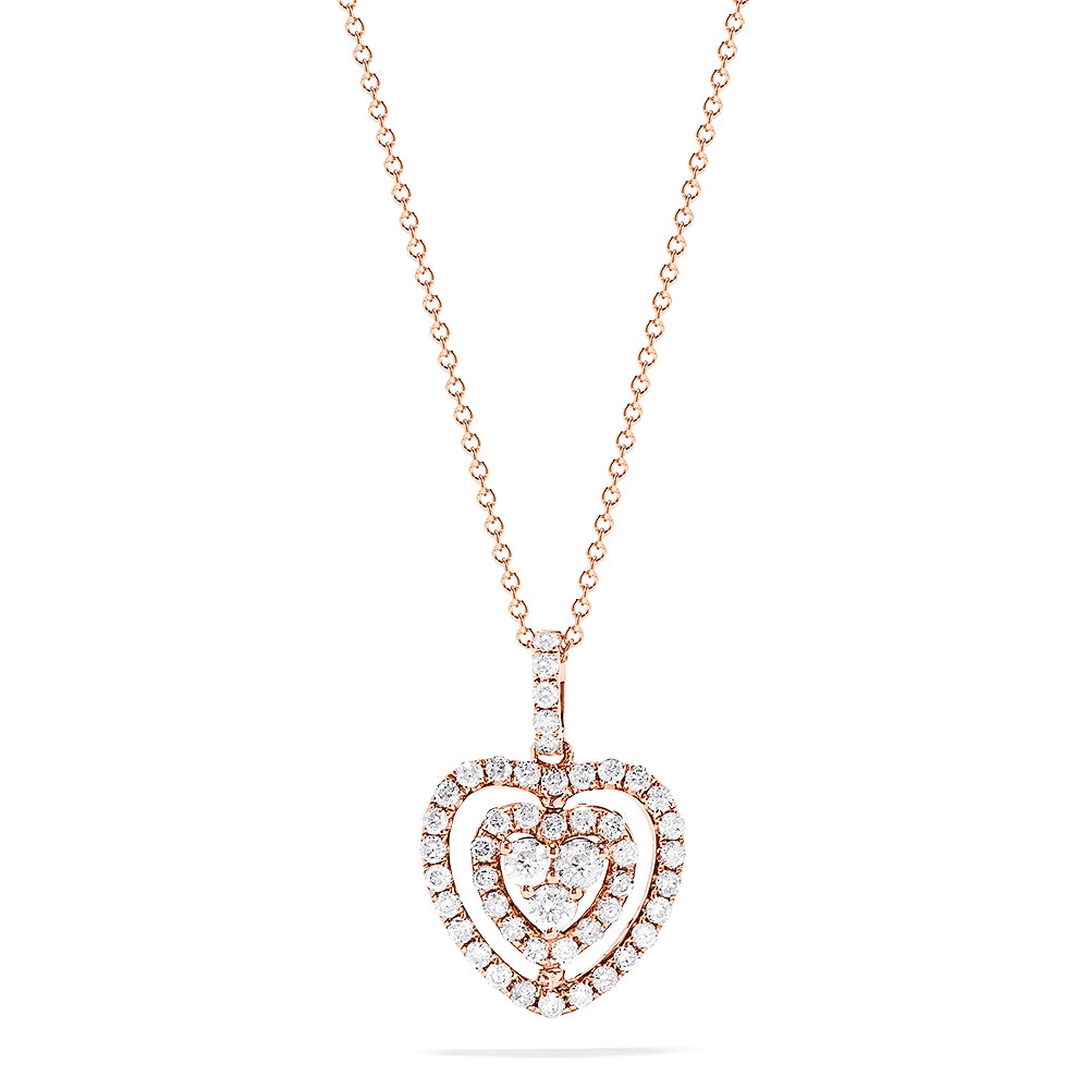 Effy 14K Rose Gold Ruby and Diamond Double Sided Heart Pendant, 1.10 TCW
