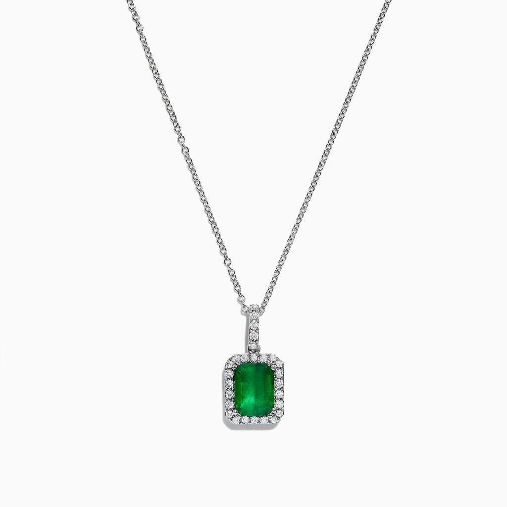Effy Brasilica 14K White Gold Emerald and Diamond Pendant, 1.65 TCW