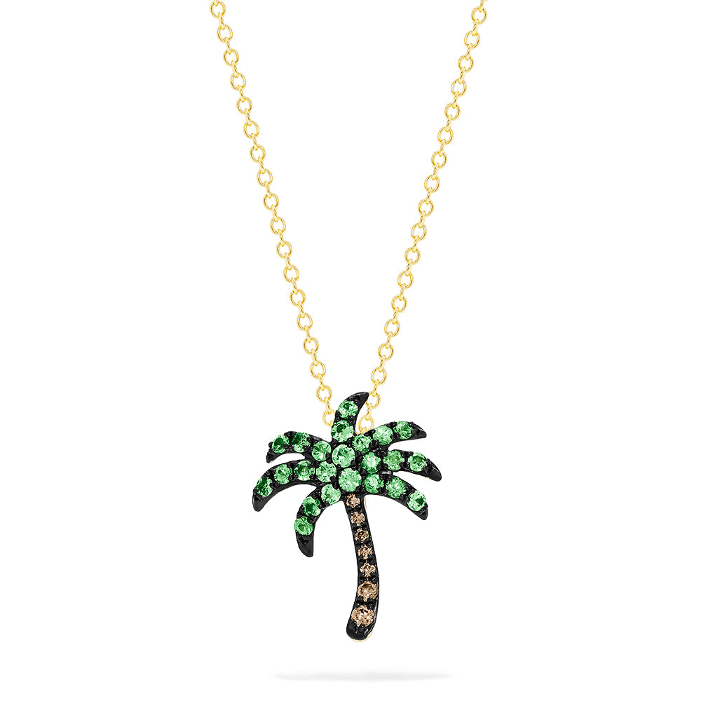 Effy Novelty 14K Gold Tsavorite & Diamond Palm Tree Pendant, 0.54 TCW
