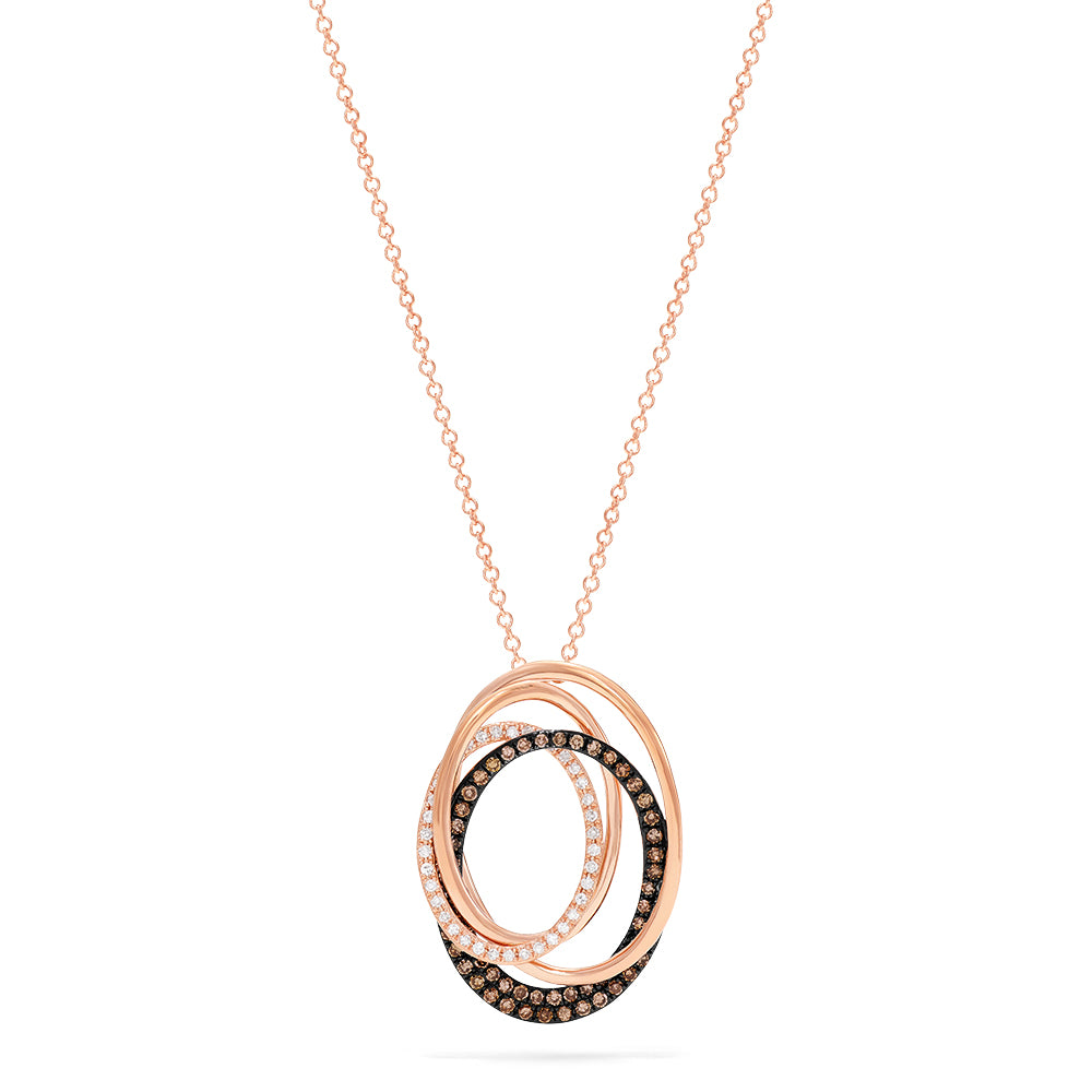 Effy Espresso 14K Rose Gold Cognac and White Diamond Pendant, 0.48 TCW