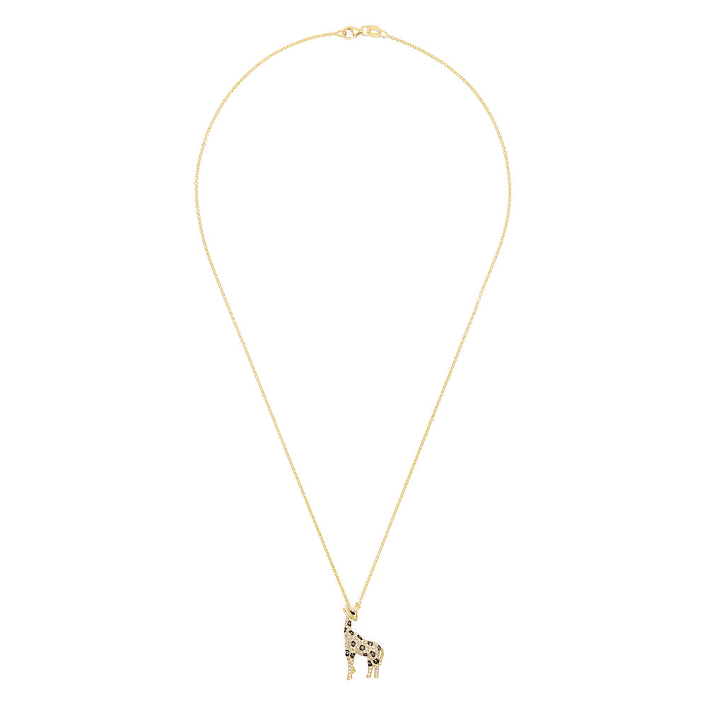 Effy Safari 14K Yellow Gold Espresso & White Diamond Giraffe Pendant, 0.43 TCW