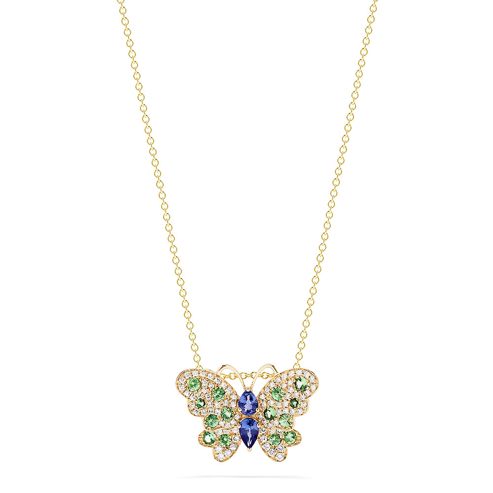 Effy Nature Sapphire, Tsavorite and Diamond Butterfly Pendant, 1.27 TCW